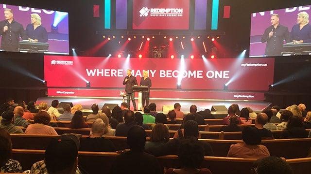 Pastor Ron Carpenter speaks at Redemption Church. (10/1/17 FOX Carolina)