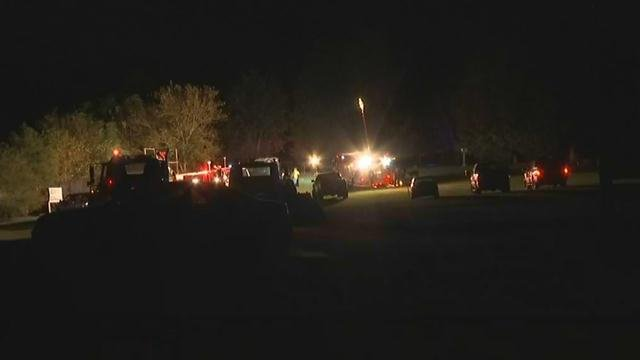 Crews on scene of haunted house fire in Blacksburg. (FOX Carolina/ 10/1/17)