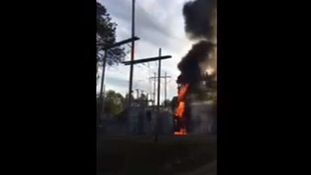 Screenshot from substation fire video. (Source: Haywood Electric Membership Corporation)