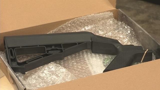 Bump stock gun accessory sold at Upstate shooting ranges. (FOX Carolina/ October 4, 2017)