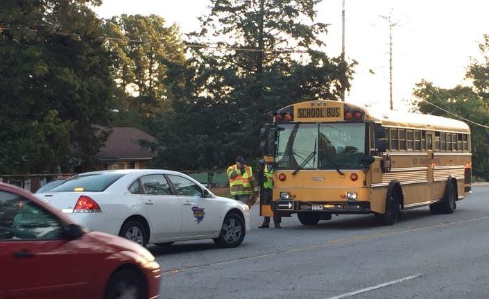 School bus crash on East North Street (FOX Carolina/ Oct. 5, 2017)