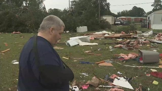 Storm damage at Town and Country Mobile Home Park. (10/9/17 FOX Carolina)