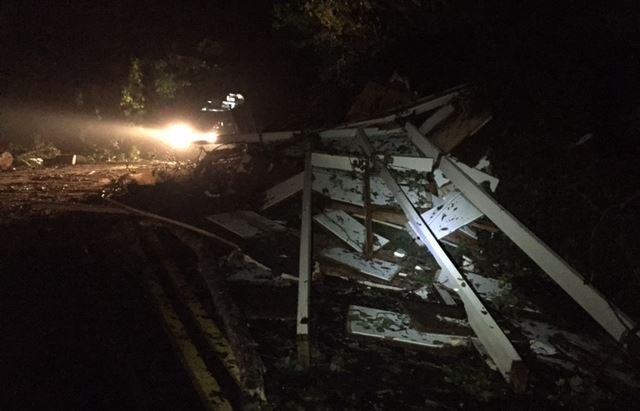 Storm damage litters Lake Road near Lake Lanier (FOX Carolina/ Oct. 10, 2017)