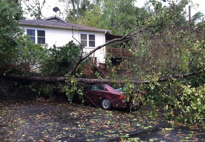 Storm damage on Pacolet Street in Tryon (FOX Carolina, Oct. 9, 2017)