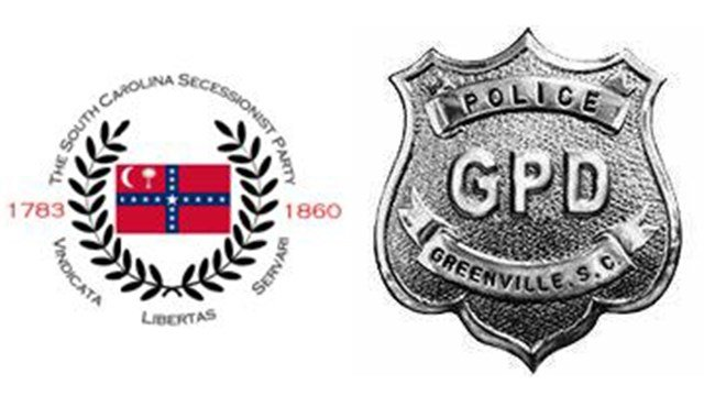 SC Secessionist Party logo (Source: SC Secessionist Party), Greenville Police Department badge (Greenville PD Facebook)