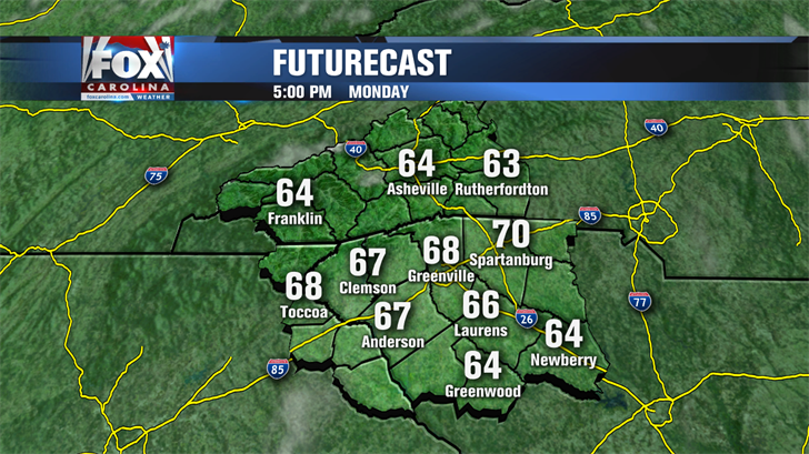 Monday weather: Cooler, drier air moves in with highs in the 70s