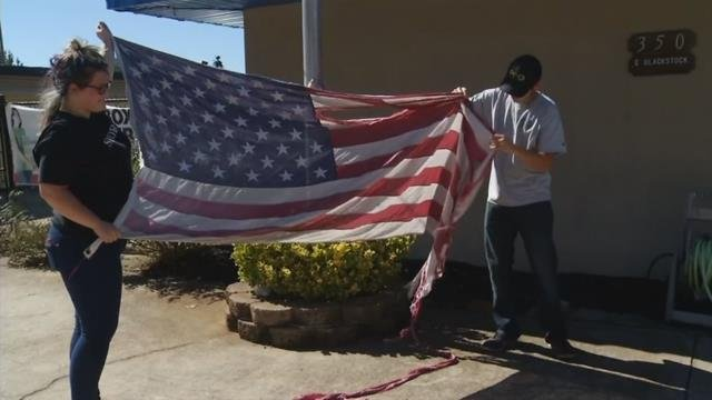 Manager: American flag outside Upstate business shredded, placed under brick