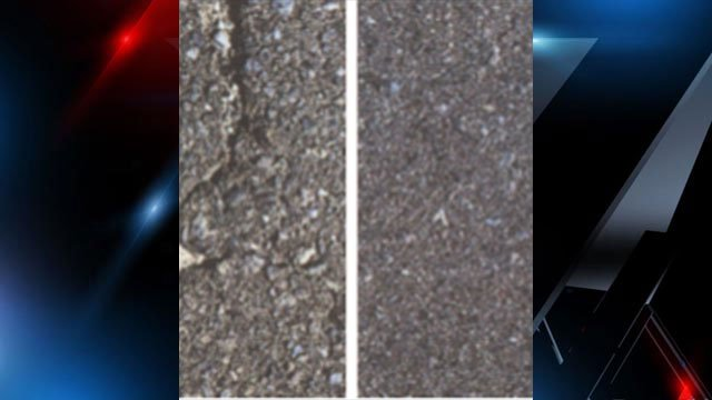 Road without preservation treatment (left), road with the treatment (right). (Source: Golden Bear Tricor Refining/City of Greenville).