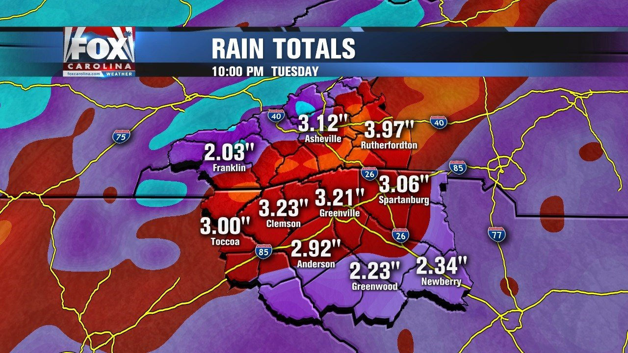 Rain totals for Monday-Tuesday