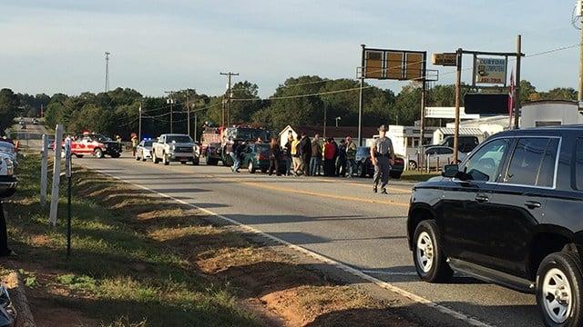 Scene of fatal collision on Old Williamston Road at SC 29. (10/21/17 FOX Carolina)