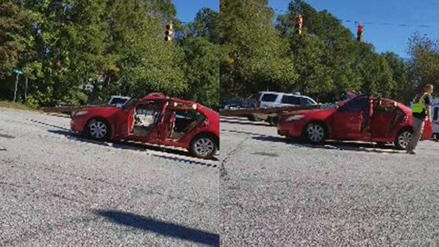 Screenshots taken from Kim Tyler's video of logging truck accident. (Credit: Kim Tyler)