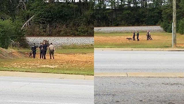 Scene of search for armed robbery suspect in Easley. (Credit: Amber Morton)