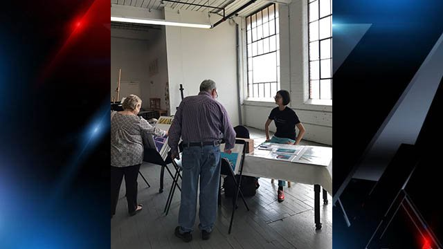 Attendees view work of local artists at annual Contemporary Print Collective Print Fair in Greenville (FOX Carolina/ 10/22/17)