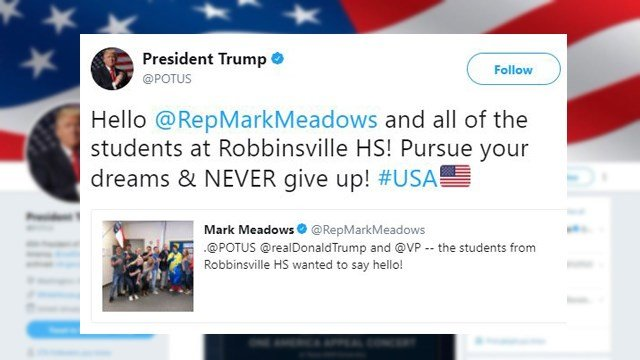 Tweet from Pres. Trump to NC students. (Source: Twitter)