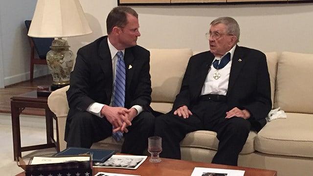 Lt. Gov. Bryant (L) and Mr. George Rusula (R). (10/23/17 FOX Carolina)