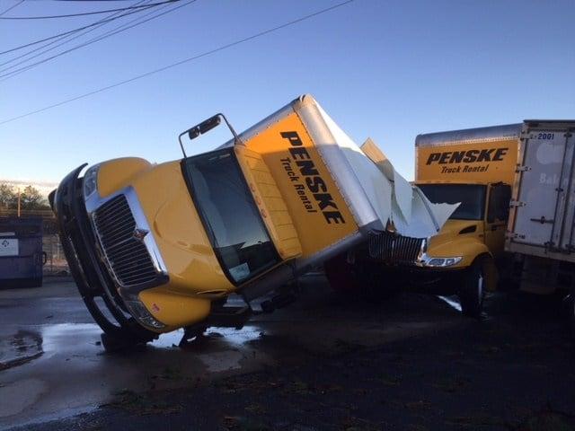 Penske truck overturned on I-85 Business (Oct. 23, 2017/FOX Carolina)