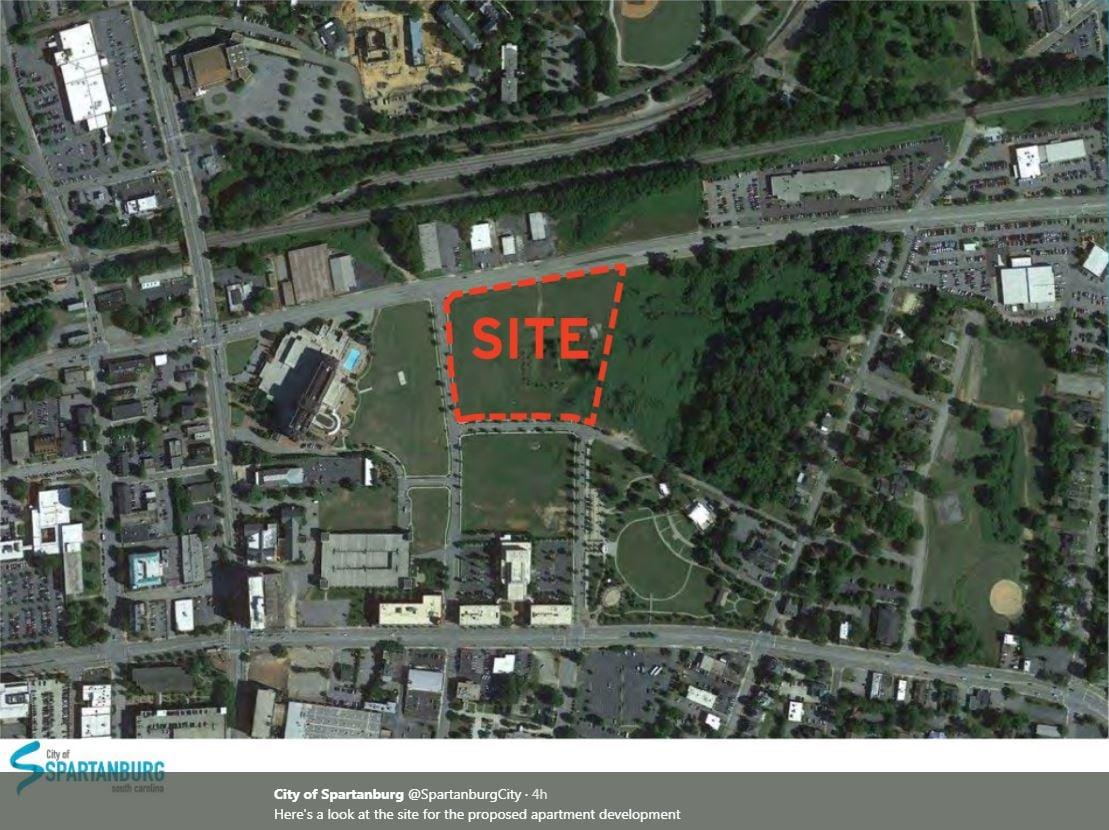 Site for 200-unit apartment complex (Source: City of Spartanburg)