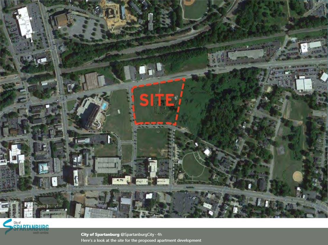 Site for 200-unit apartment complex (Source: City of Spartanburg)
