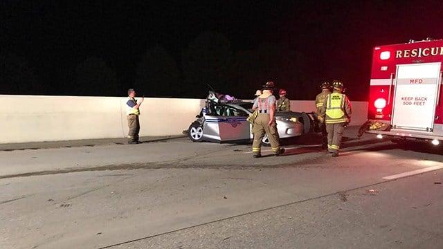 Scene of collision involving trooper in Greenville. (Credit: Dez Enesa)