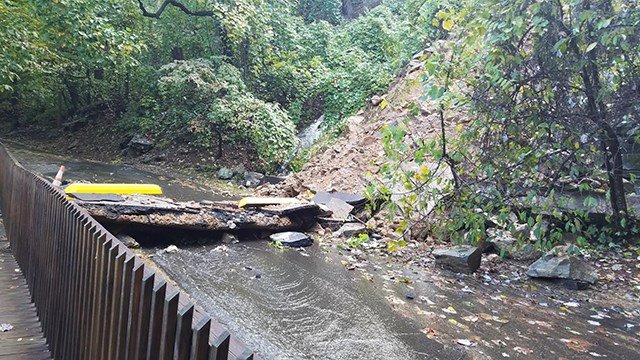Retaining wall collapse at Chimney Rock State Park. (Credit: Chimney Rock State Park)