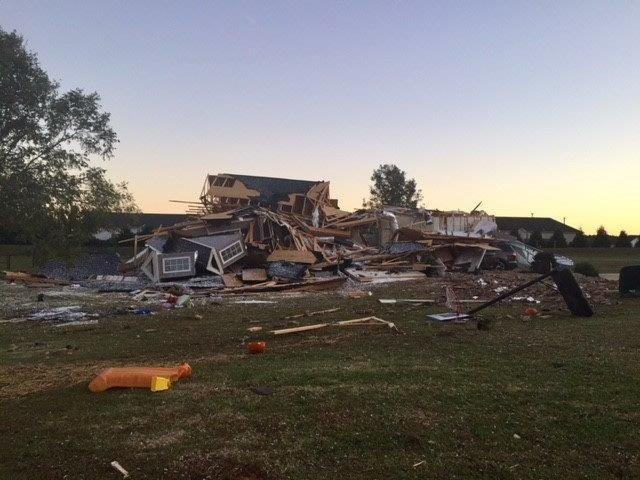 Home on West Diesel Drive destroyed in tornado that hit Cherokee County. (Oct. 24, 2017/FOX Carolina)