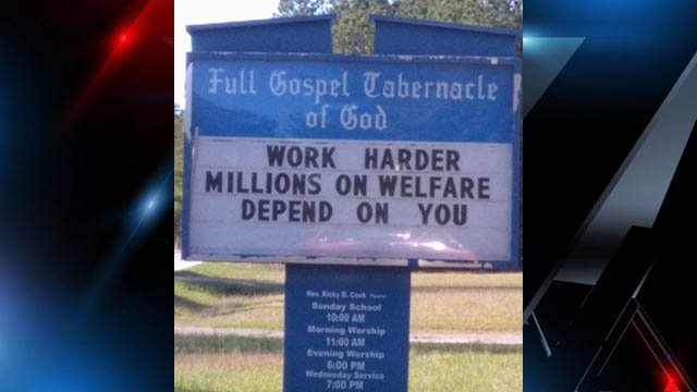 Sign posted outside Full Gospel Tabernacle of God in Buffalo (Source: iWitness)