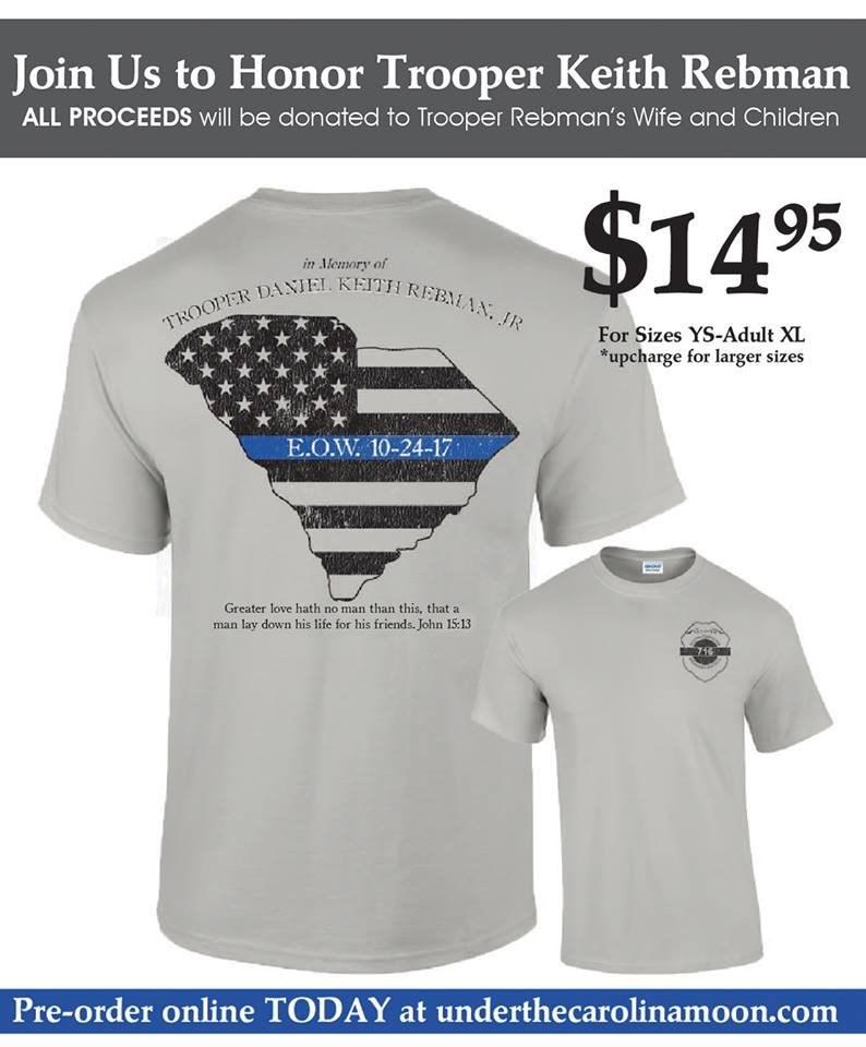 Shirts honoring Trooper Rebman (Source: Under the Carolina Moon)