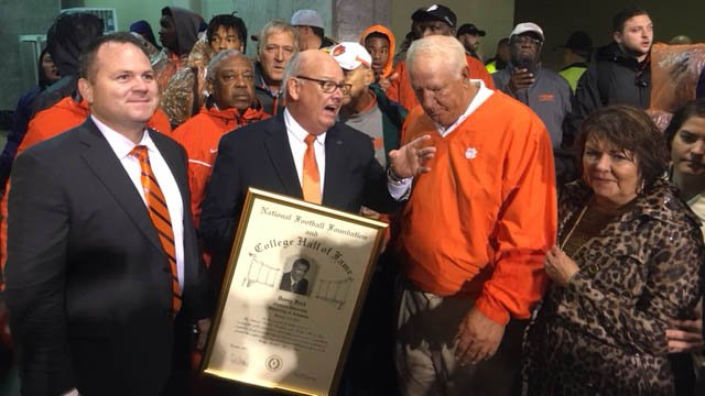 Former Clemson coach Danny Ford honored at pregame for induction into National Football Foundation Hall of Fame Class of 2017. (FOX Carolina/10/28/17)