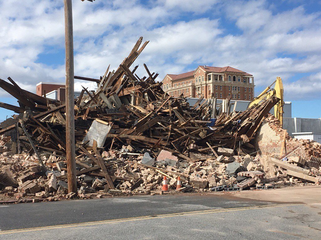 Demolition in downtown Spartanburg. (Source: City of Spartanburg).