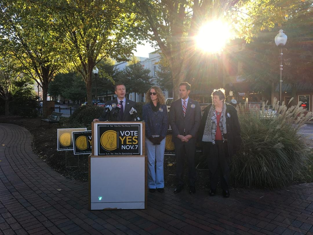 Three local political party leaders come together to support penny tax referendum (FOX Carolina: 10/30/17).