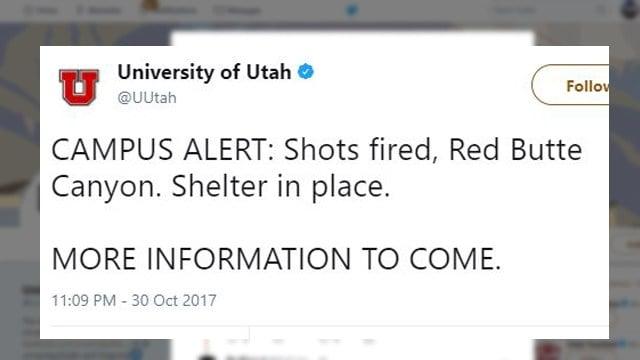 University of Utah campus alert. (Source: Twitter)