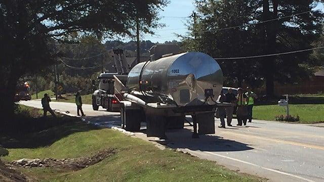 Tank crash scene in Simpsonville (Oct. 31, 2017/FOX Carolina)