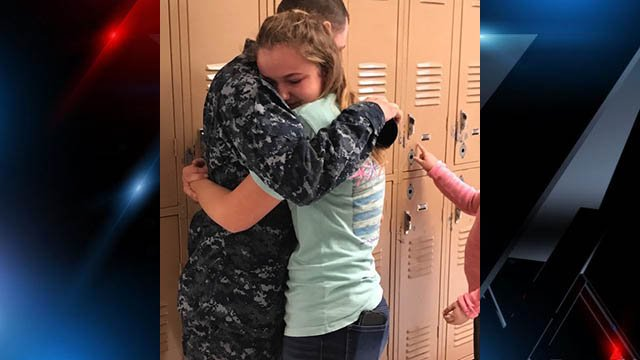 Brooke Taylor embraces brother William Taylor, who'd just returned home after 7 months deployed to Europe. (Source: Family)