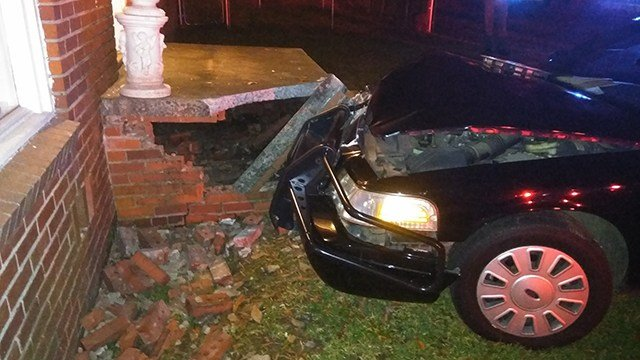 Patrol car crashed into home (Source: Justin Gray)