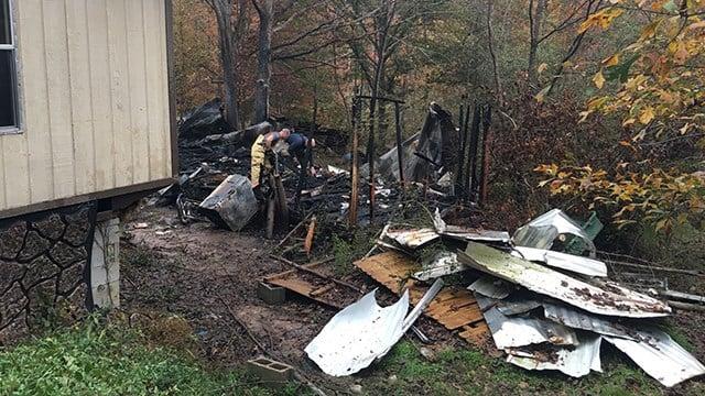 Scene of mobile home fire on Adams Road. (11/5/17 FOX Carolina)
