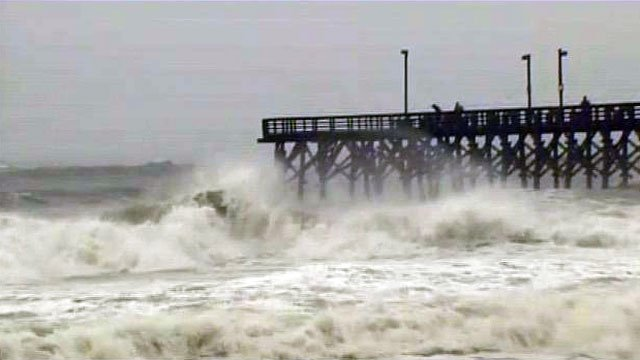 Waves pound the pier at Surf City, NC, as Hurricane Irene approaches. (Aug. 26, 2011/FOX Carolina)