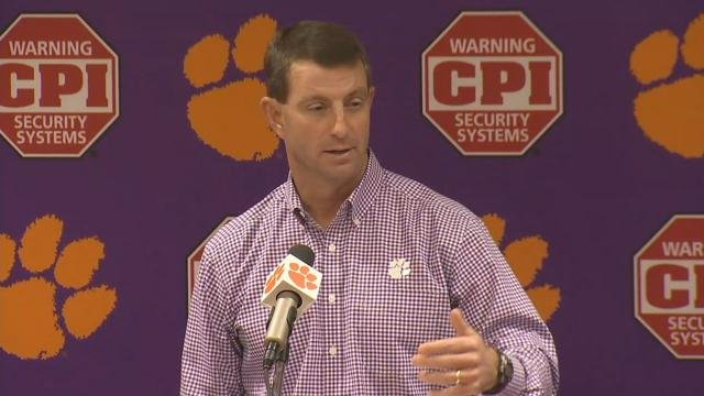 Dabo Swinney (Nov. 7, 2017/FOX Carolina)