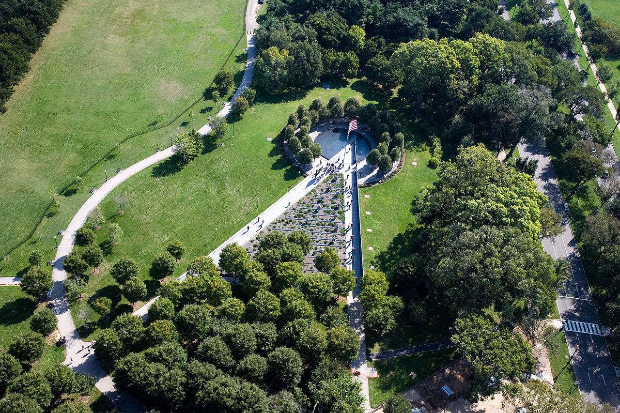 Aerial view of the Korean Warn Memorial in Washington, DC (Wikimedia Commons)