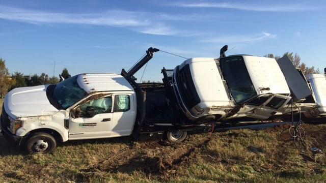 Overturned vehicle on I-85 Business. (11/11/17 FOX Carolina)