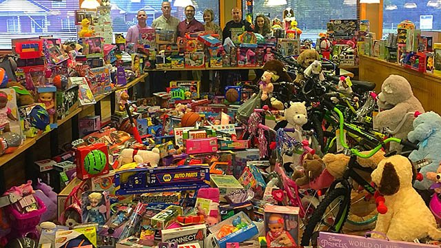 Toys collected during annual toy drive in honor of Sylvia Holtzclaw. (FOX Carolina/ 11/12/17)