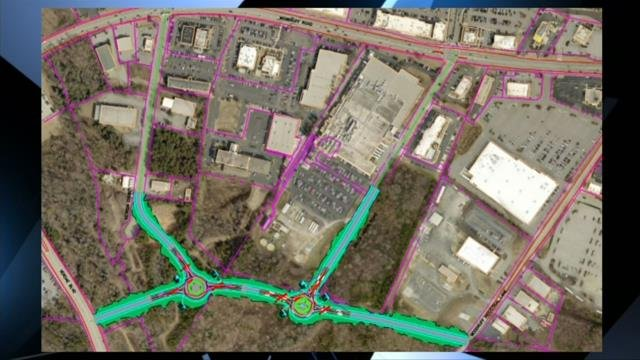 Proposed connector road on Woodruff Road. (11/13/17 FOX Carolina)