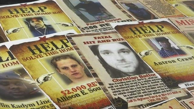 Unsolved cases display. (11/13/17 FOX Carolina)