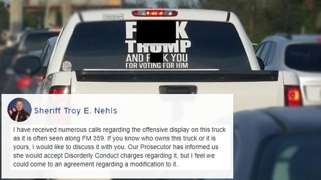 Sheriffs facebook post about pickup with anti trump decal met w kxxv tv news channel 25 central texas news and weather for waco temple killeen