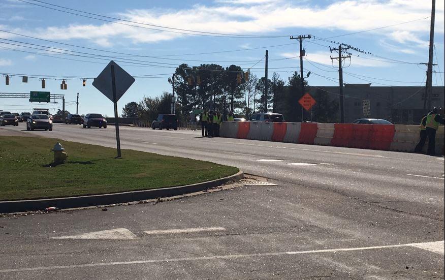 Crews install left turn barriers on Woodruff Rd. (FOX Carolina/ Nov. 16, 2017)