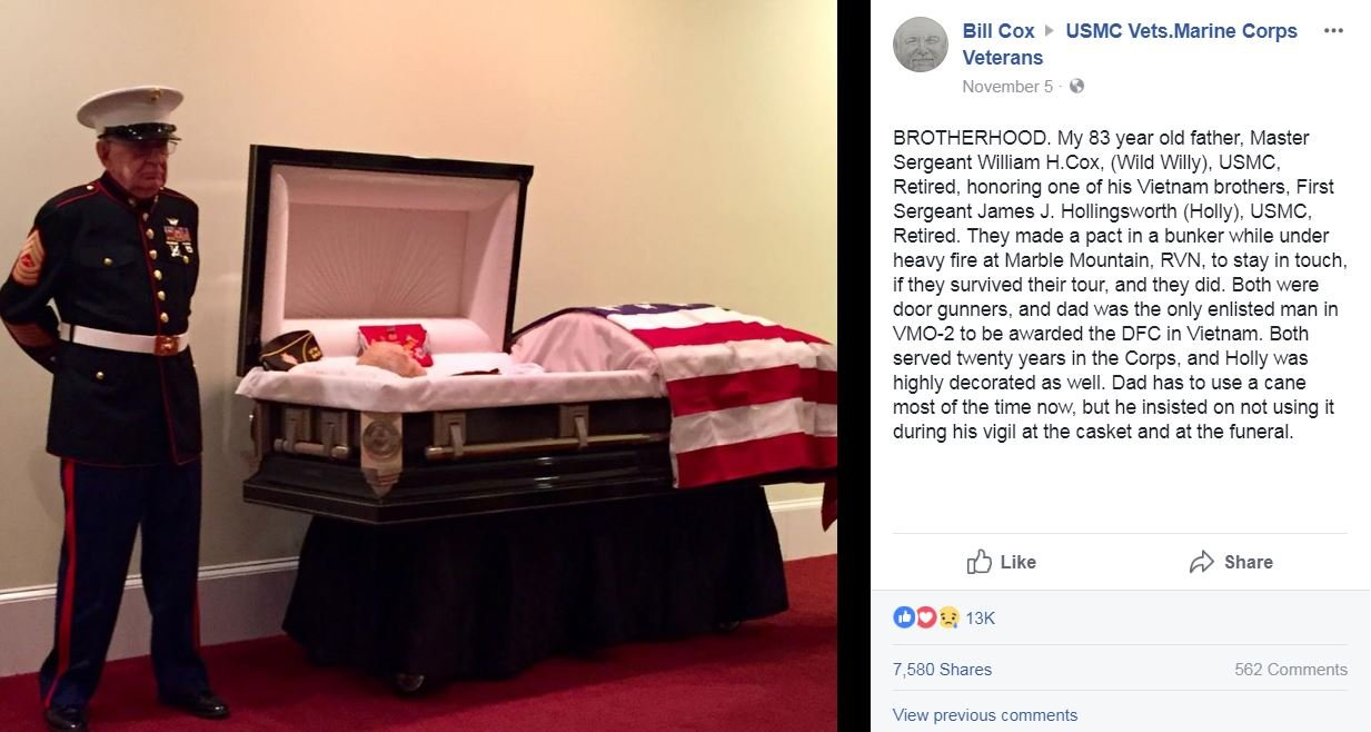 William Cox stands guard at casket for friend and fellow veteran. (Source: Bill Cox/Facebook)