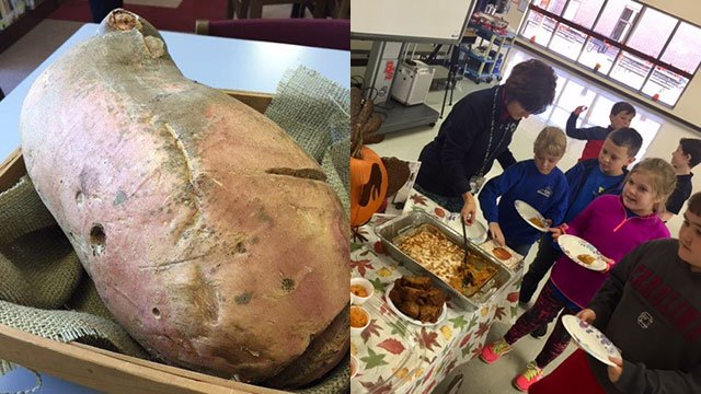 Students at Carlisle-Foster's Grove Elementary eat pies made from state's largest sweet potato (Nov. 17, 2017/FOX Carolina)