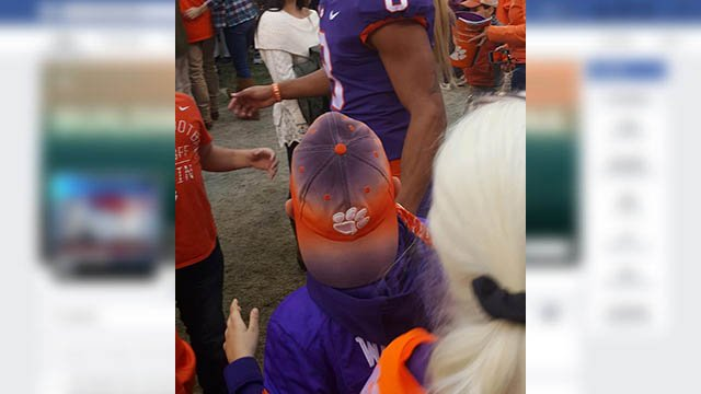 Clemson fan family needs your help to find cherished Clemson hat lost at football game. (Source: Emily Poetz)
