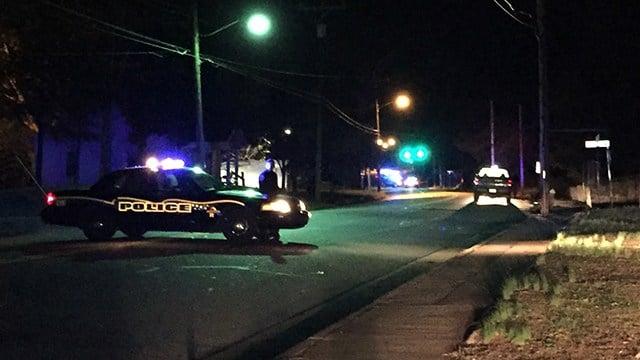 Police had Sanders Street blocked off as they processed scene of shooting. (11/19/17 FOX Carolina)