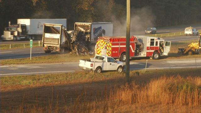 Smoke billows from the burned trailer (FOX Carolina/ Nov. 22, 2017)