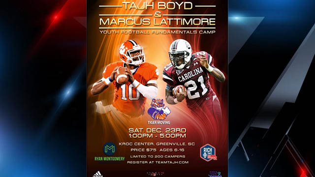 Tajh Boyd & Marcus Lattimore Youth Football Fundamentals camp to be held December 23 in Greenville. (Source: Tajh Boyd website)